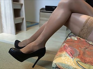 My glossy stockings and High heels