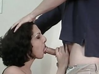 Black haired tranny gets cock swallowed..