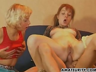 Amateur Mom trains her daughter to suck..