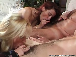 Stunning sluts riding big cocks on the..