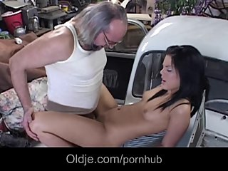 Hairy old driver humps hot brunette on..