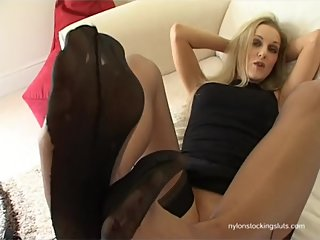 Vicki FF Stocking Foot Tease