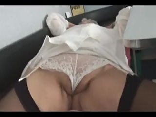 Attractive Granny in short skirt panty..
