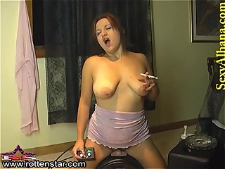 SMOKING ALHANA - Sybian Riding Cigarette..
