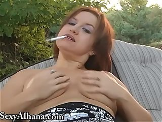 SMOKING ALHANA - Outside Topless Dangles..