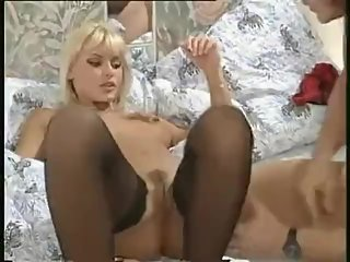 Anita Blonde Fucks in Black Stockings